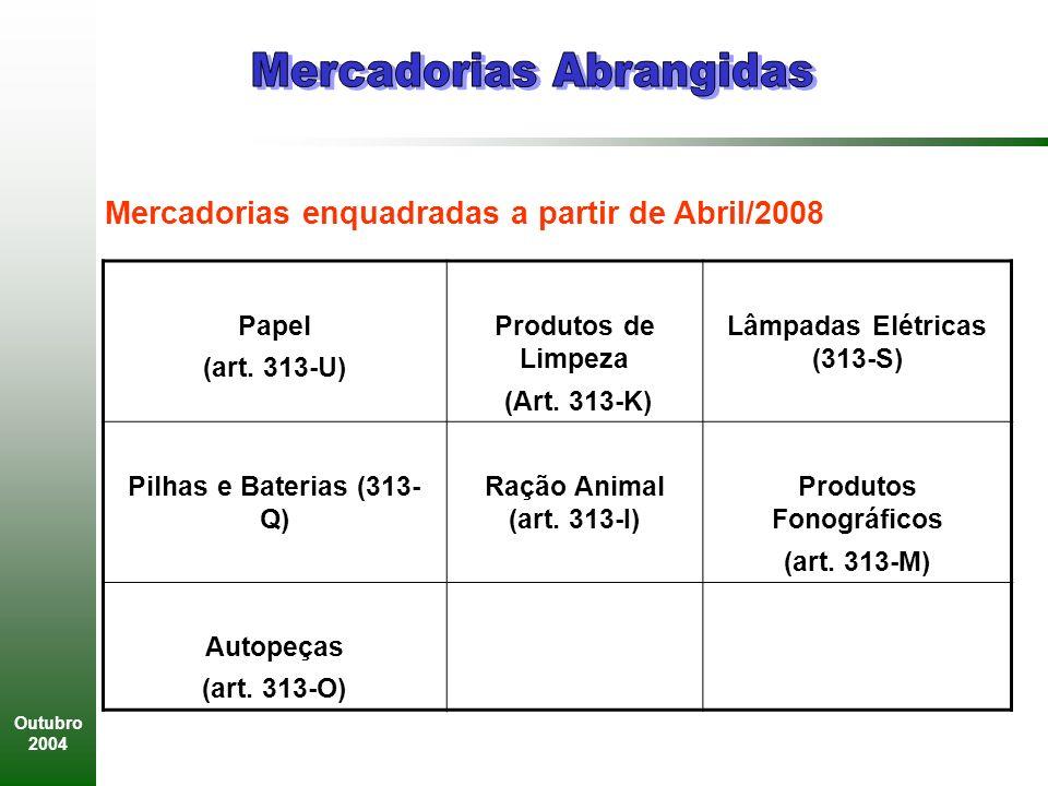 Outubro 2004 Papel (art.313-U) Produtos de Limpeza (Art.