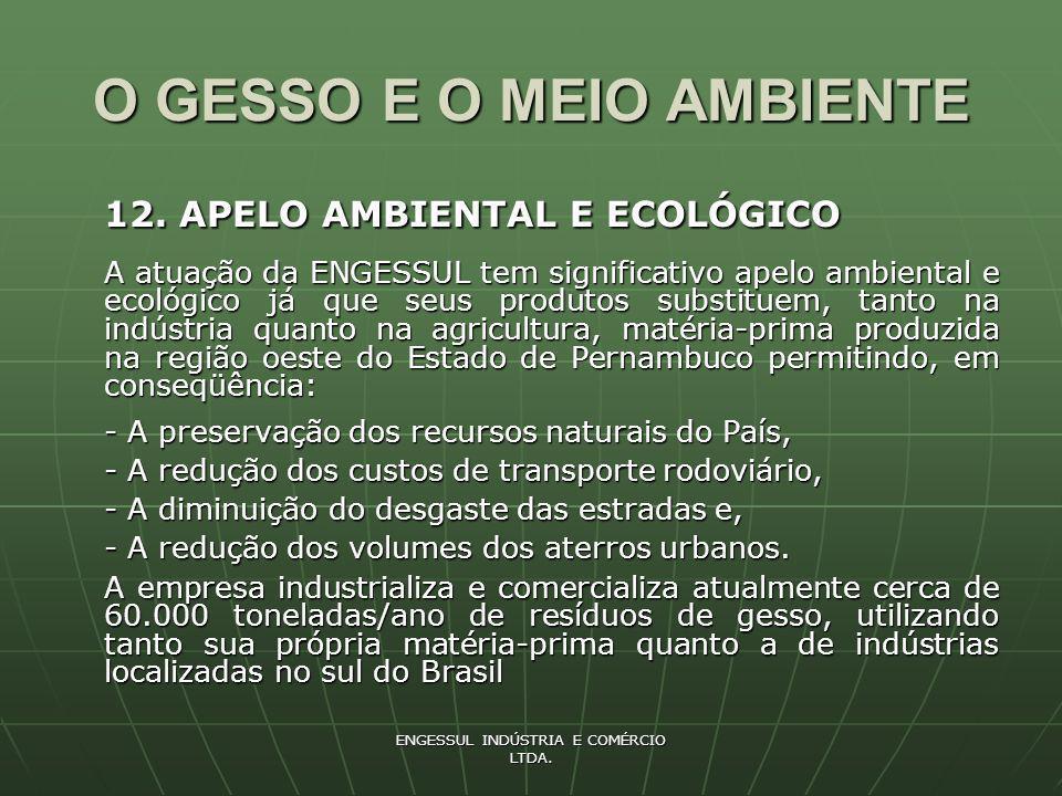 ENGESSUL INDÚSTRIA E COMÉRCIO LTDA. O GESSO E O MEIO AMBIENTE 12. APELO AMBIENTAL E ECOLÓGICO A atuação da ENGESSUL tem significativo apelo ambiental