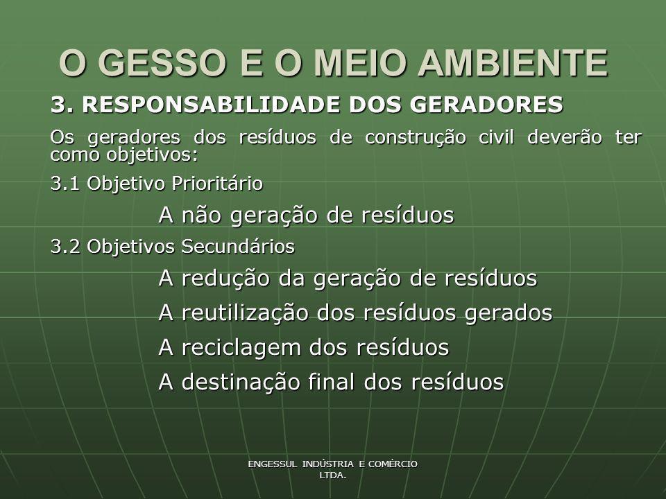 ENGESSUL INDÚSTRIA E COMÉRCIO LTDA.O GESSO E O MEIO AMBIENTE 4.