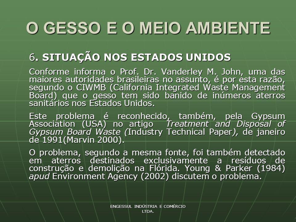 ENGESSUL INDÚSTRIA E COMÉRCIO LTDA.O GESSO E O MEIO AMBIENTE 7.