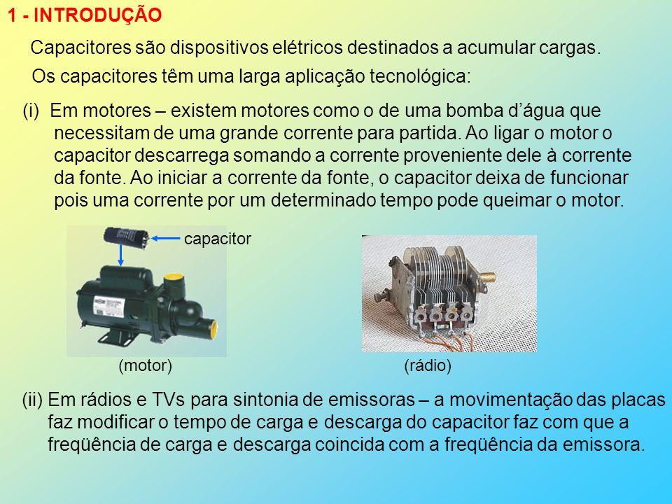 1 - INTRODUÇÃO Capacitores são dispositivos elétricos destinados a acumular cargas. Os capacitores têm uma larga aplicação tecnológica: (i)Em motores