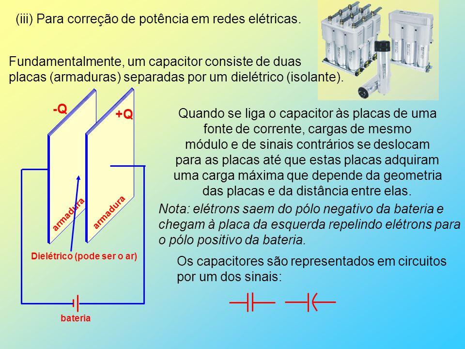 (iii) Para correção de potência em redes elétricas. Fundamentalmente, um capacitor consiste de duas placas (armaduras) separadas por um dielétrico (is