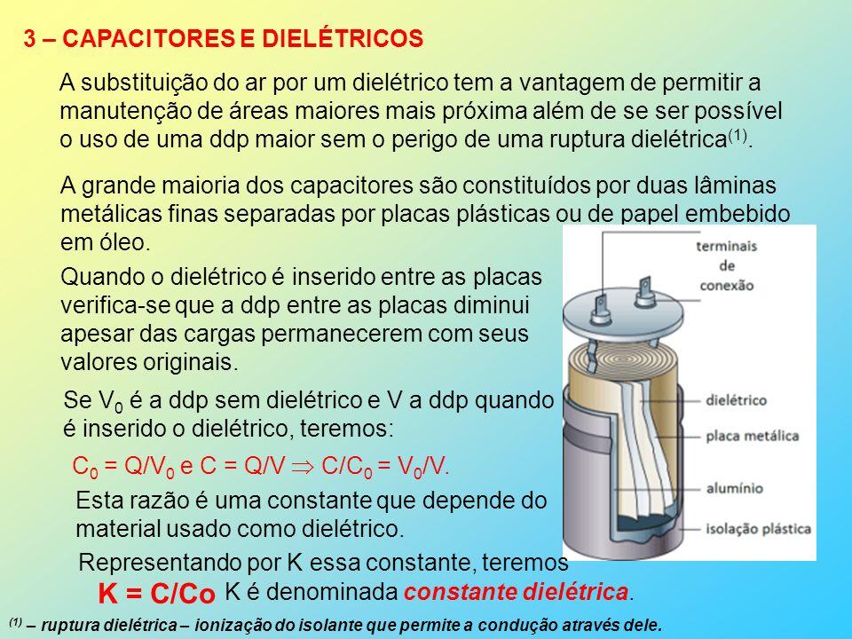 3 – CAPACITORES E DIELÉTRICOS A substituição do ar por um dielétrico tem a vantagem de permitir a manutenção de áreas maiores mais próxima além de se