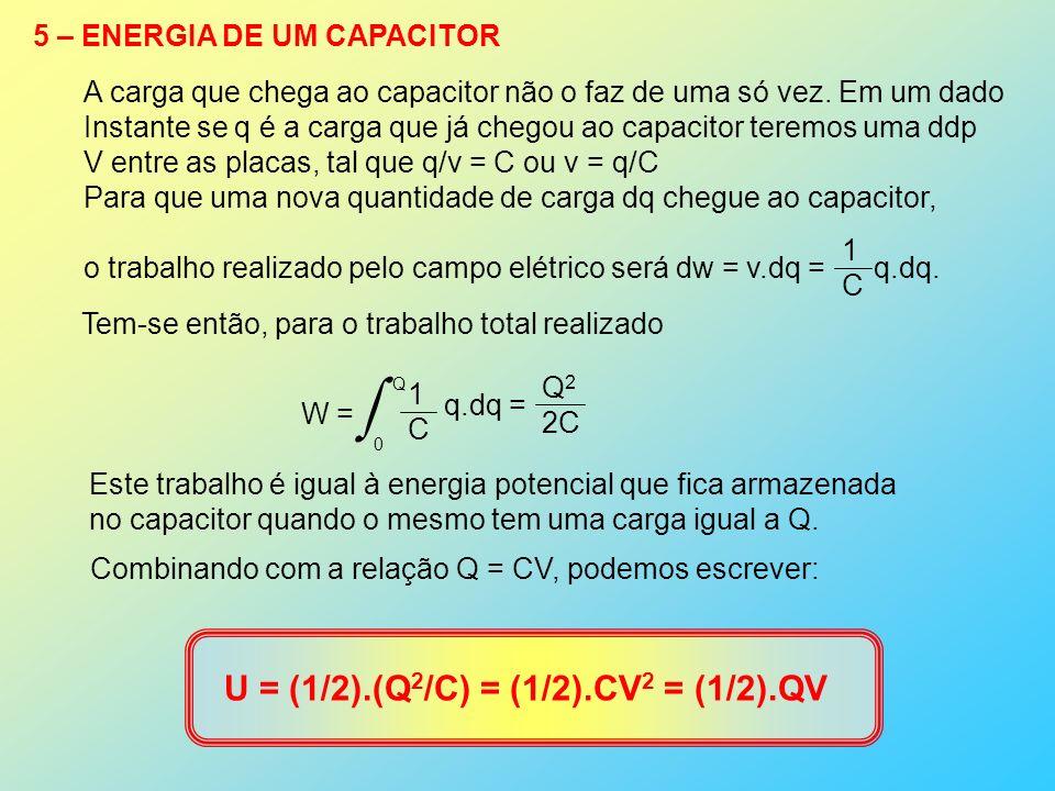 5 – ENERGIA DE UM CAPACITOR A carga que chega ao capacitor não o faz de uma só vez. Em um dado Instante se q é a carga que já chegou ao capacitor tere