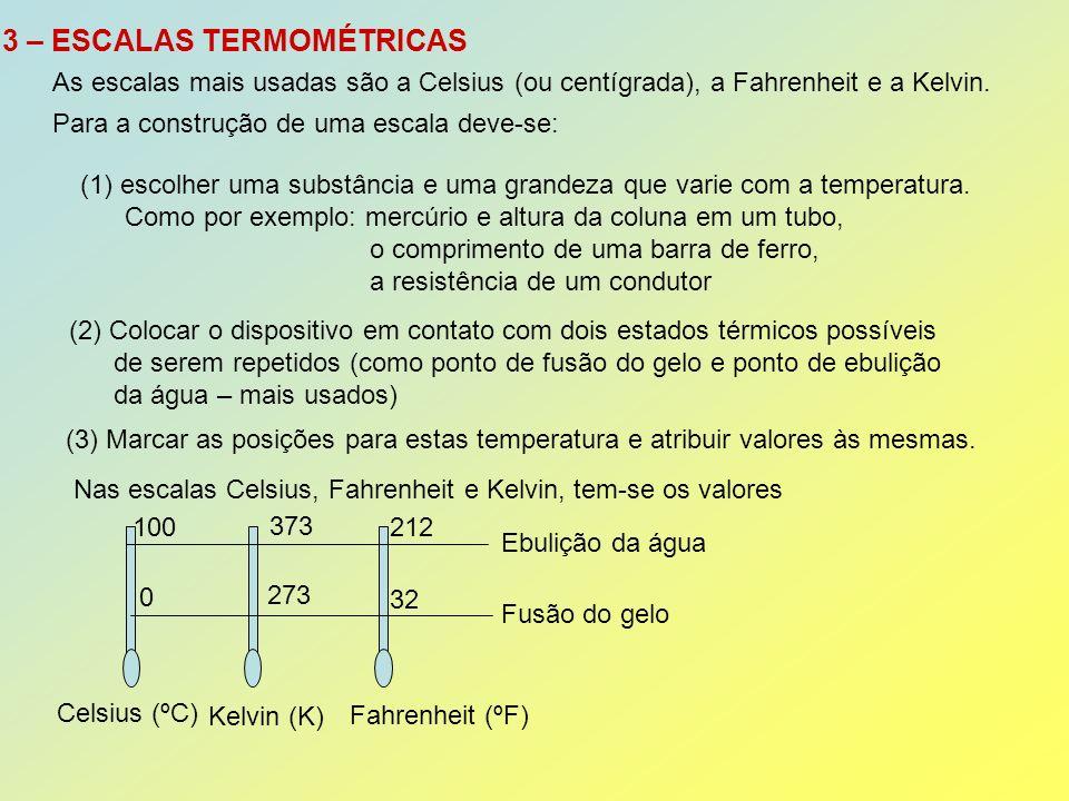 Por proporcionalidade entre segmentos: Fusão do gelo Ebulição da água Celsius (ºC) Kelvin (K) Fahrenheit (ºF) 0 100212 32 373 273 tCtC tFtF T t C – 0 T – 273 t F – 32 100 – 0 373 – 273 212 - 32 = = t C T-273 t F – 32 100 100 180 = = Separando as igualdades e simplificando: t C = T – 273 t C = (t F – 32) 5959