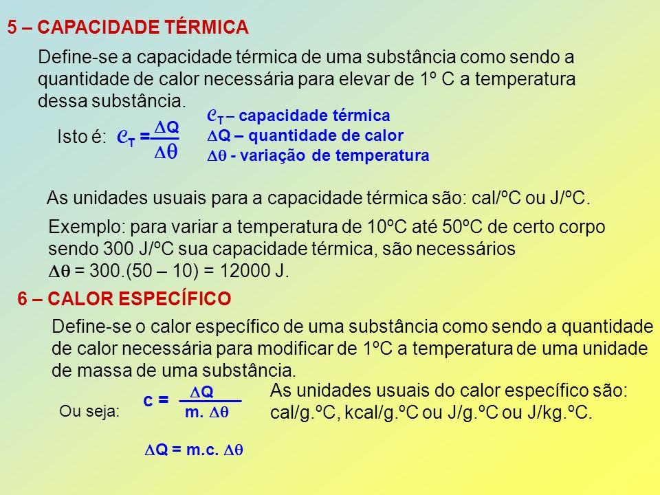 OBSERVAÇÃO: O calor específico de uma substância pode depender da temperatura.