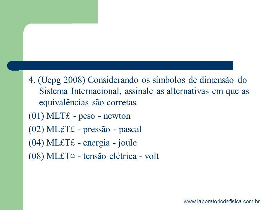 4. (Uepg 2008) Considerando os símbolos de dimensão do Sistema Internacional, assinale as alternativas em que as equivalências são corretas. (01) MLT