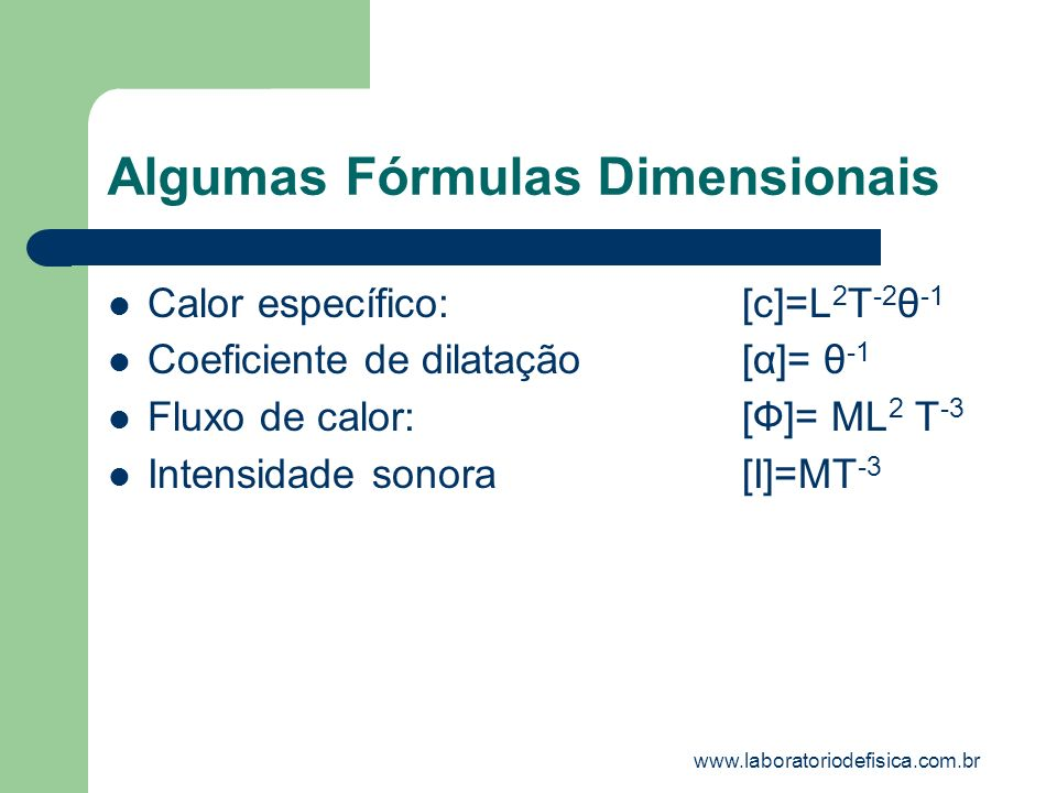 Algumas Fórmulas Dimensionais Calor específico:[c]=L 2 T -2 θ -1 Coeficiente de dilatação[α]= θ -1 Fluxo de calor:[Ф]= ML 2 T -3 Intensidade sonora[I]