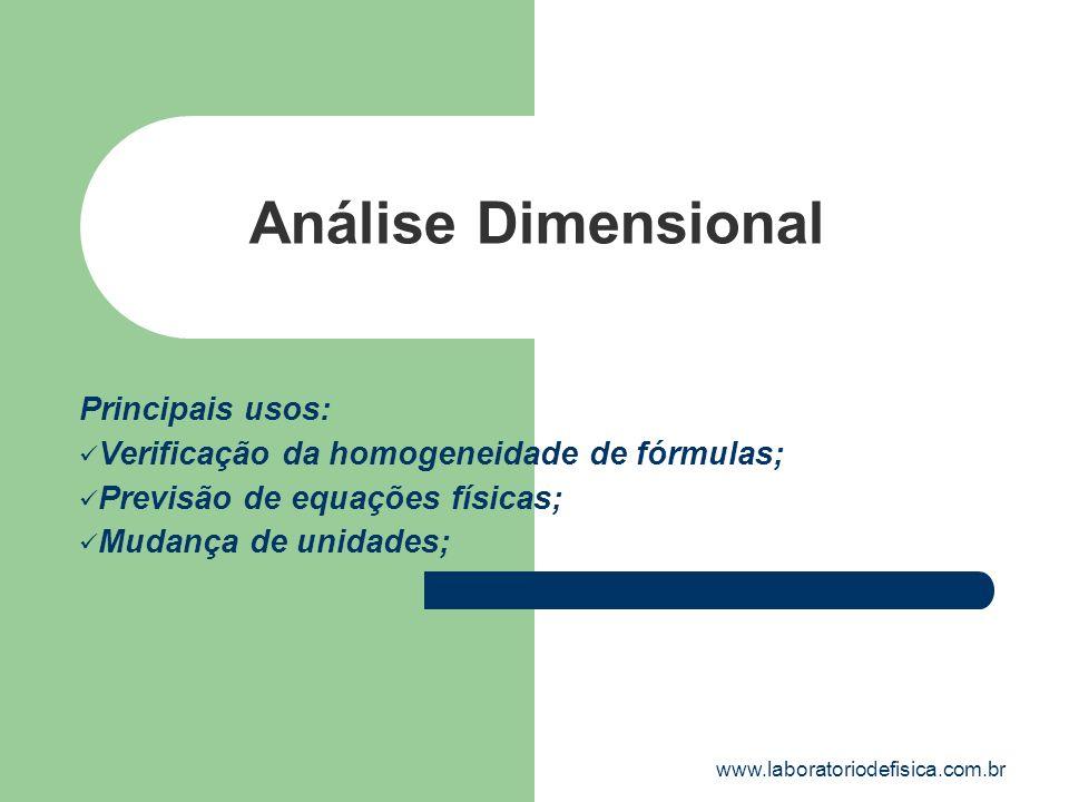 Análise Dimensional Principais usos: Verificação da homogeneidade de fórmulas; Previsão de equações físicas; Mudança de unidades; www.laboratoriodefis