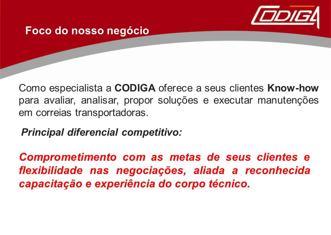 Foco do nosso negócio Como especialista a CODIGA oferece a seus clientes Know-how para avaliar, analisar, propor soluções e executar manutenções em correias transportadoras.