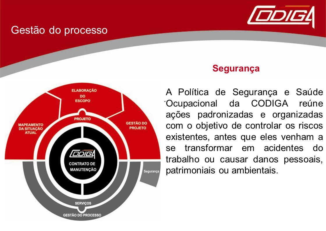 Segurança Gestão do processo. A Política de Segurança e Saúde Ocupacional da CODIGA reúne ações padronizadas e organizadas com o objetivo de controlar
