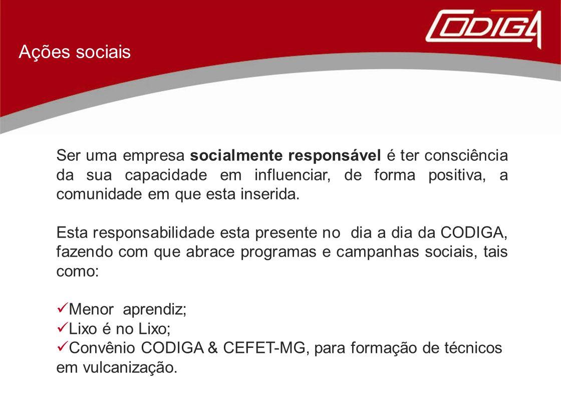 Ações sociais Ser uma empresa socialmente responsável é ter consciência da sua capacidade em influenciar, de forma positiva, a comunidade em que esta inserida.