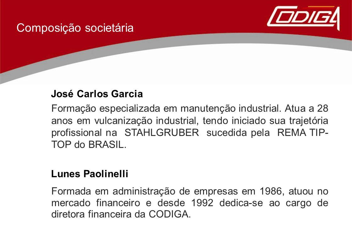 José Carlos Garcia Formação especializada em manutenção industrial. Atua a 28 anos em vulcanização industrial, tendo iniciado sua trajetória profissio