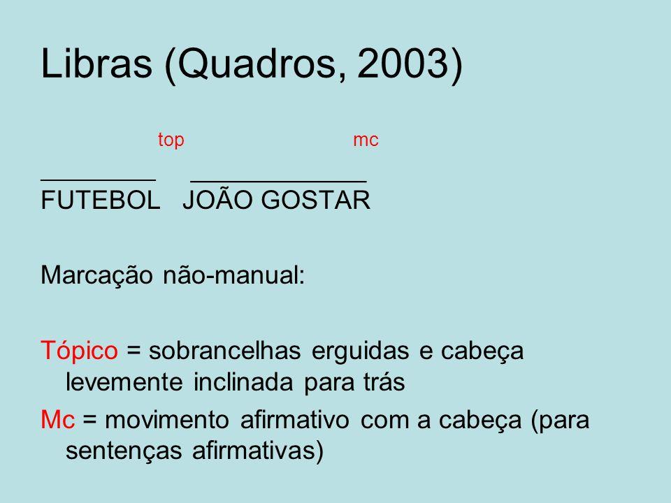 Libras (Quadros, 2003) top mc ___________ ____________ FUTEBOL JOÃO GOSTAR Marcação não-manual: Tópico = sobrancelhas erguidas e cabeça levemente incl