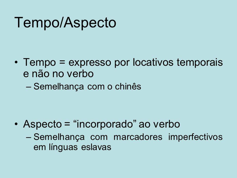 Tempo/Aspecto Tempo = expresso por locativos temporais e não no verbo –Semelhança com o chinês Aspecto = incorporado ao verbo –Semelhança com marcador