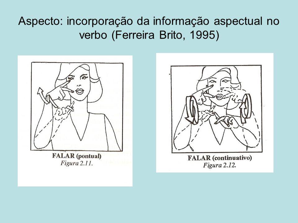 Aspecto: incorporação da informação aspectual no verbo (Ferreira Brito, 1995)