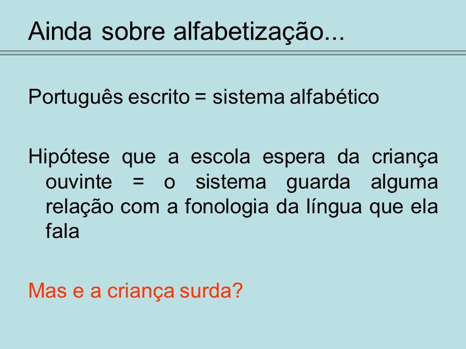 Ainda sobre alfabetização... Português escrito = sistema alfabético Hipótese que a escola espera da criança ouvinte = o sistema guarda alguma relação