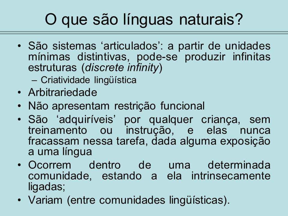 O que são línguas naturais? São sistemas articulados: a partir de unidades mínimas distintivas, pode-se produzir infinitas estruturas (discrete infini
