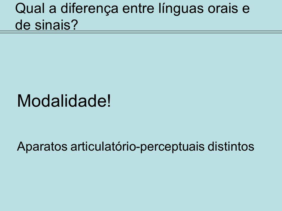 Qual a diferença entre línguas orais e de sinais? Modalidade! Aparatos articulatório-perceptuais distintos