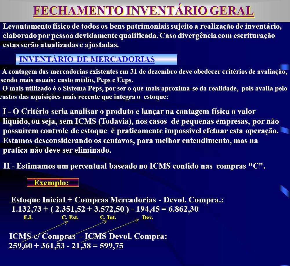 INVENTÁRIO DE MERCADORIAS II - Estimamos um percentual baseado no ICMS contido nas compras C .