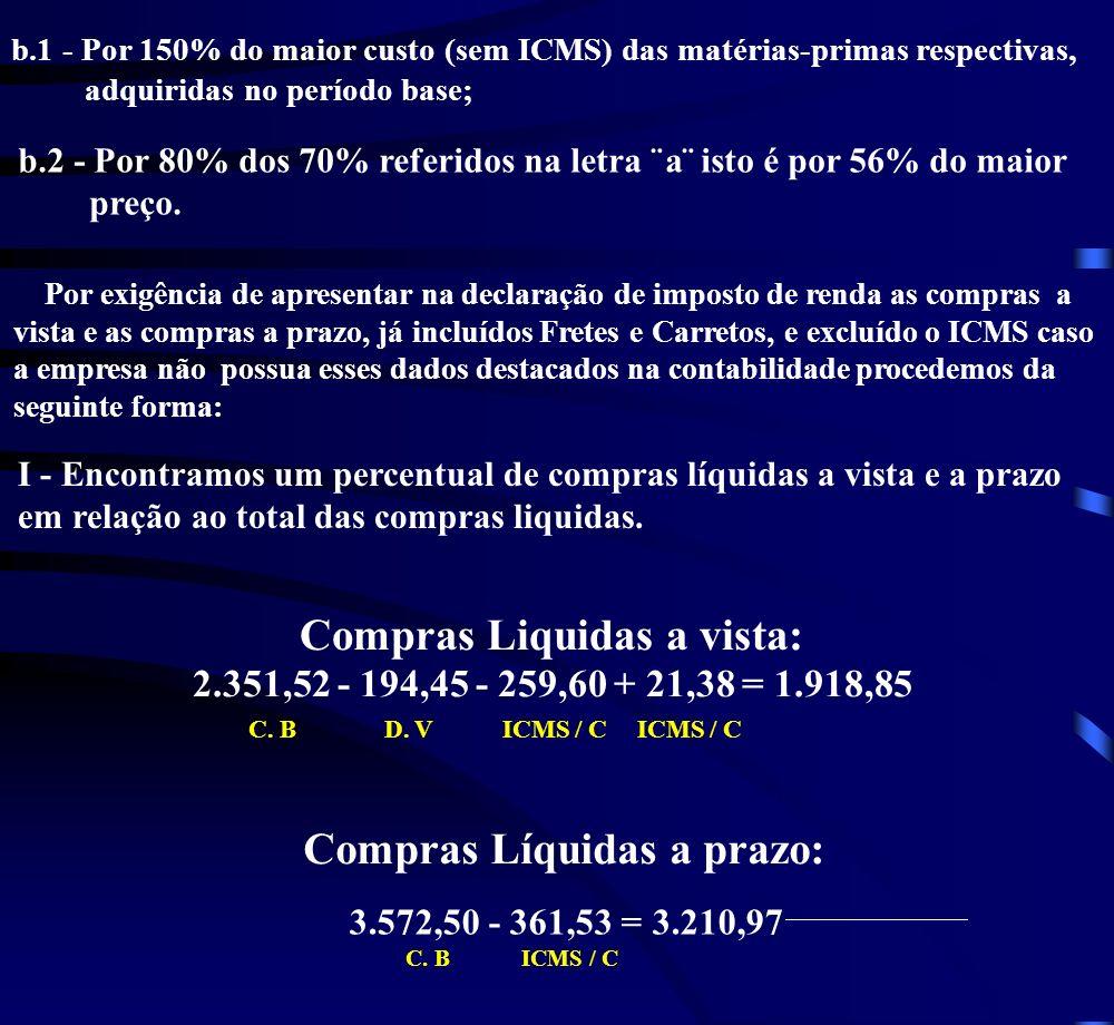 Compras Liquidas a vista: 2.351,52 - 194,45 - 259,60 + 21,38 = 1.918,85 C.