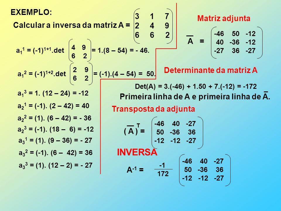 EXEMPLO: Calcular a inversa da matriz A = 3 1 7 2 4 9 6 6 2 a 1 1 = (-1) 1+1.det = 1.(8 – 54) = - 46.
