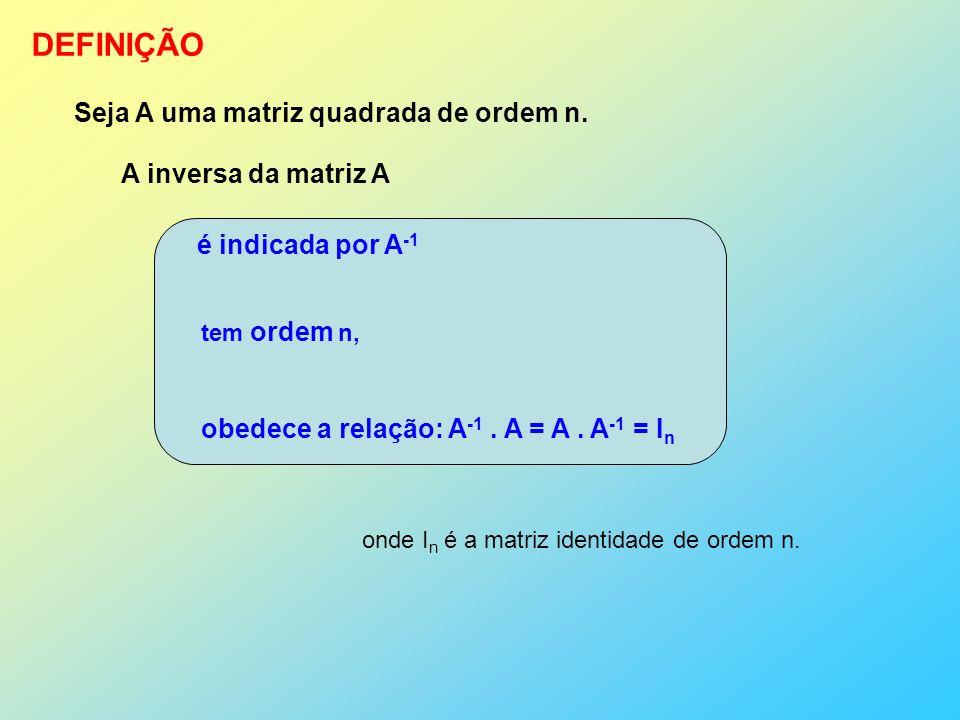 DEFINIÇÃO Seja A uma matriz quadrada de ordem n.