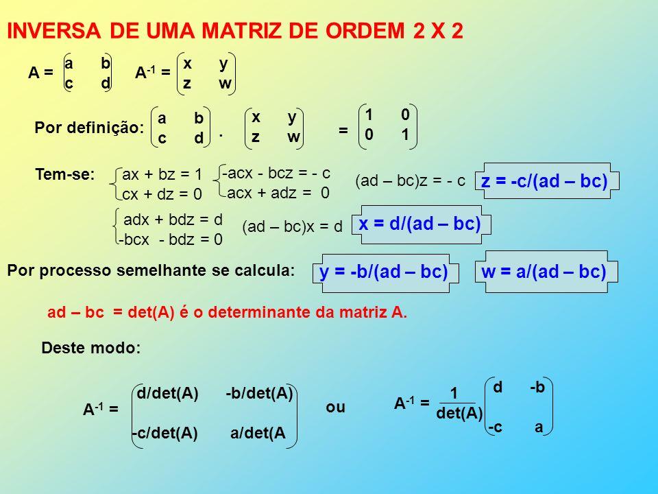 A = a b c d A -1 = x y z w Por definição: a b c d x y z w.