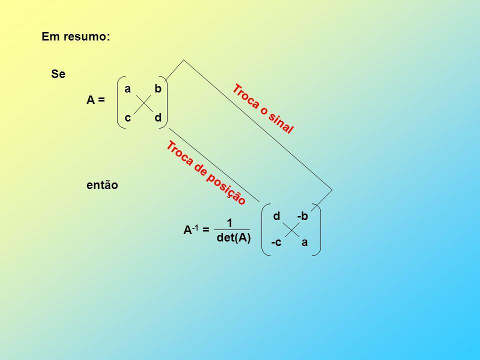 Em resumo: Se então A -1 = 1 det(A) A = a b c d d a Troca de posição -c -b Troca o sinal
