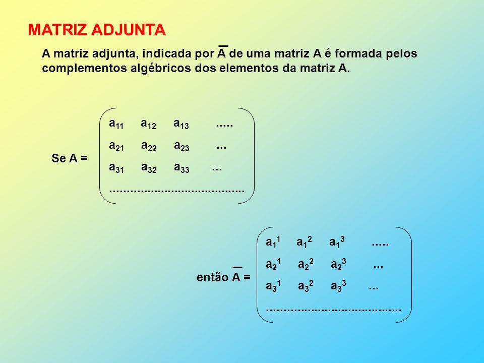 MATRIZ ADJUNTA Se A = a 11 a 12 a 13.....a 21 a 22 a 23...
