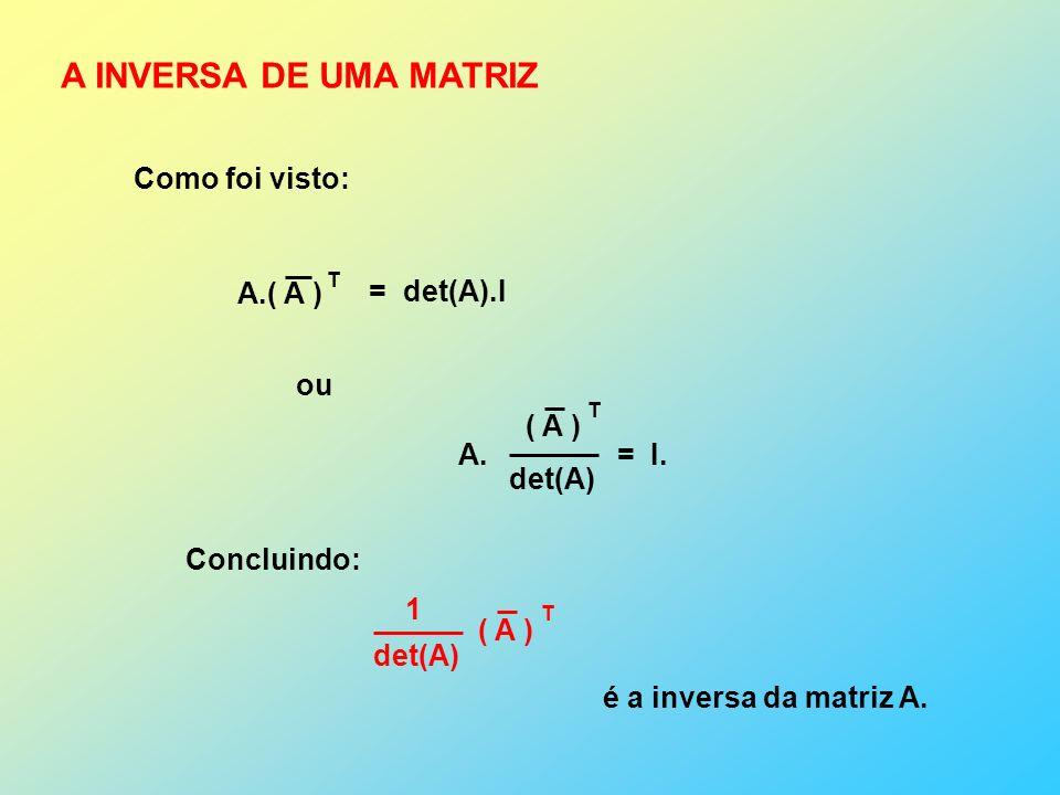 A INVERSA DE UMA MATRIZ Como foi visto: A.( A ) T = det(A).I A.