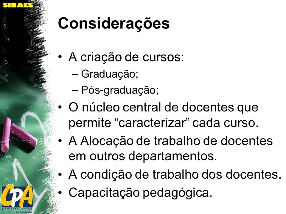 SINAES Considerações A criação de cursos: –Graduação; –Pós-graduação; O núcleo central de docentes que permite caracterizar cada curso. A Alocação de