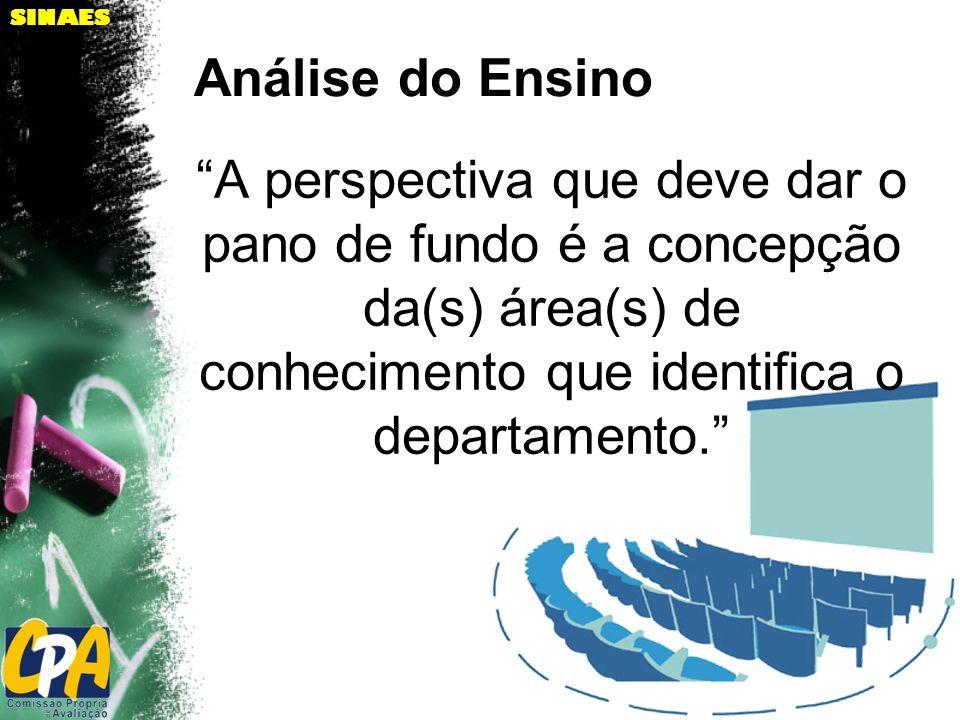 SINAES A perspectiva que deve dar o pano de fundo é a concepção da(s) área(s) de conhecimento que identifica o departamento. Análise do Ensino