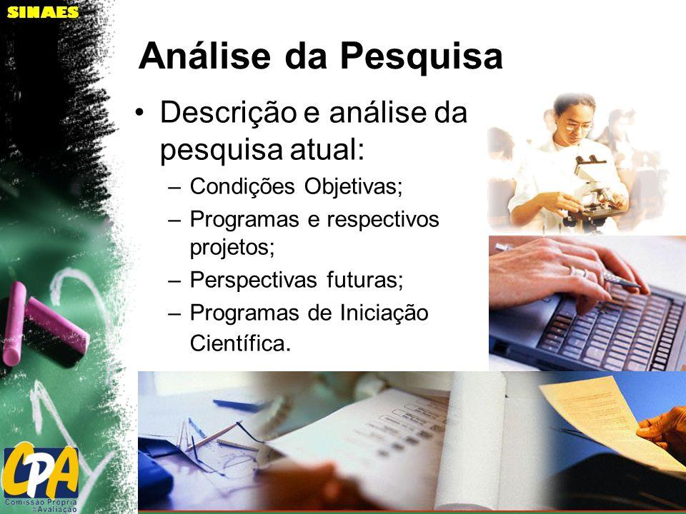 SINAES Análise da Pesquisa Descrição e análise da pesquisa atual: –Condições Objetivas; –Programas e respectivos projetos; –Perspectivas futuras; –Pro