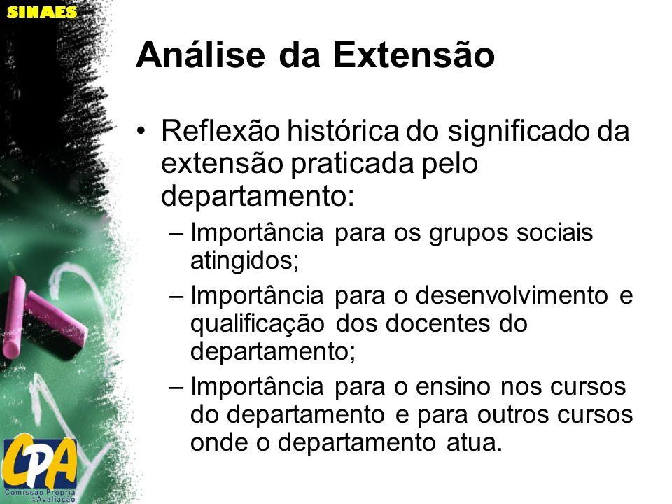 SINAES Análise da Extensão Reflexão histórica do significado da extensão praticada pelo departamento: –Importância para os grupos sociais atingidos; –