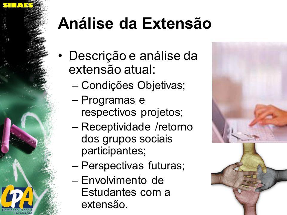 SINAES Análise da Extensão Descrição e análise da extensão atual: –Condições Objetivas; –Programas e respectivos projetos; –Receptividade /retorno dos