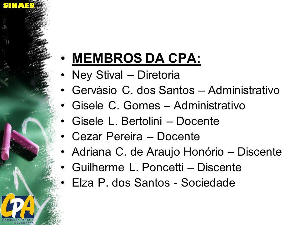 SINAES MEMBROS DA CPA: Ney Stival – Diretoria Gervásio C. dos Santos – Administrativo Gisele C. Gomes – Administrativo Gisele L. Bertolini – Docente C