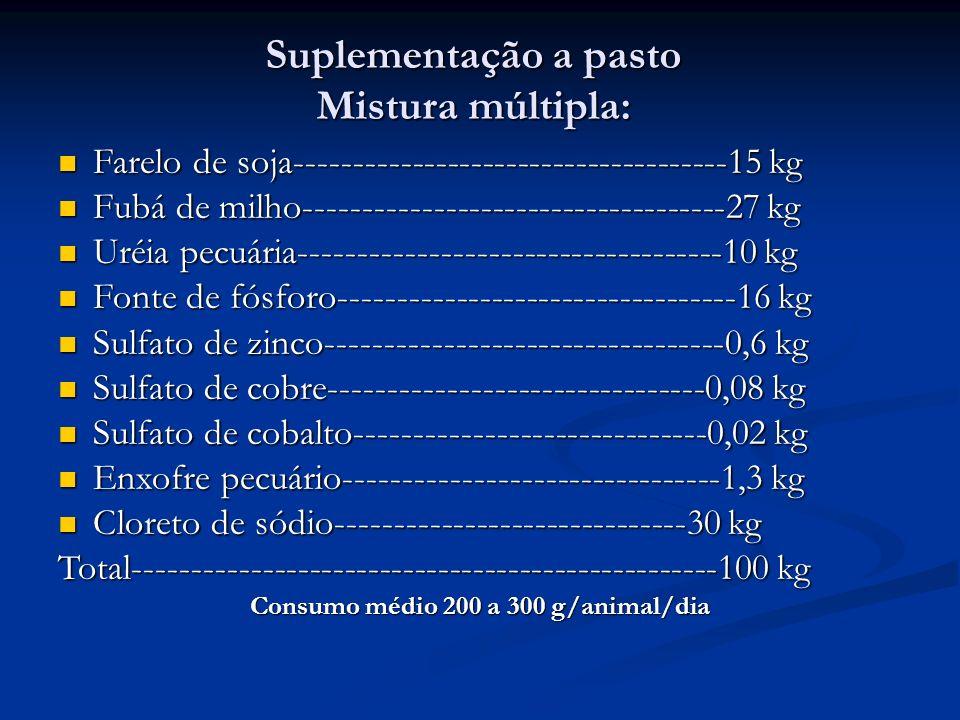 Suplementação a pasto Mistura múltipla: Farelo de soja-------------------------------------15 kg Farelo de soja-------------------------------------15