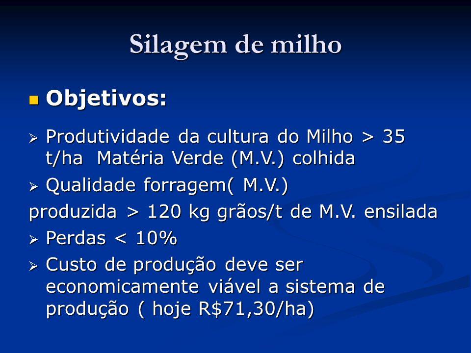 Silagem de milho Objetivos: Objetivos: Produtividade da cultura do Milho > 35 t/ha Matéria Verde (M.V.) colhida Produtividade da cultura do Milho > 35