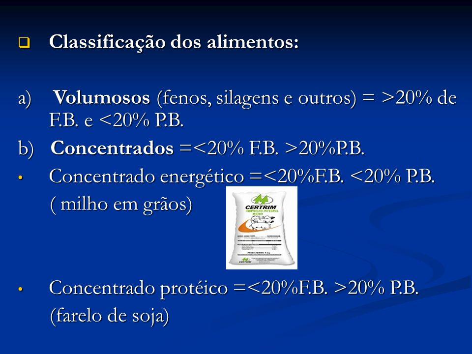 Classificação dos alimentos: Classificação dos alimentos: a) Volumosos (fenos, silagens e outros) = >20% de F.B. e 20% de F.B. e <20% P.B. b) Concentr