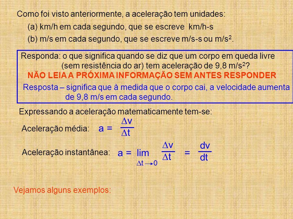 Expressando a aceleração matematicamente tem-se: Aceleração média: Aceleração instantânea: a = v t a = lim = v t t 0 dv dt Como foi visto anteriorment