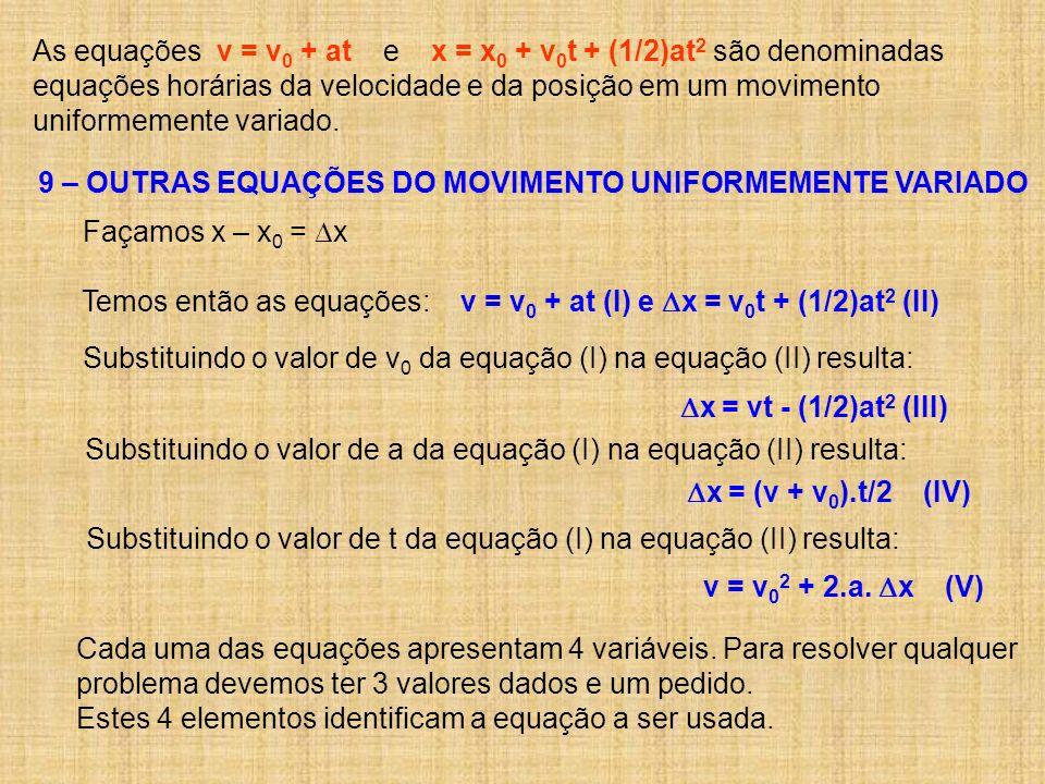 As equações v = v 0 + at e x = x 0 + v 0 t + (1/2)at 2 são denominadas equações horárias da velocidade e da posição em um movimento uniformemente vari