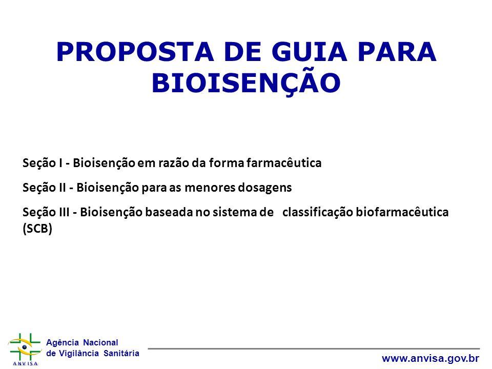 Agência Nacional de Vigilância Sanitária www.anvisa.gov.br SEÇÃO I Bioisenção em razão da forma farmacêutica OS ESTUDOS DE BIOEQUIVALÊNCIA PARA MEDICAMENTOS GENÉRICOS OU SIMILARES SÃO DISPENSADOS PARA: Soluções aquosas: parenterais, orais, otológicas, oftálmicas e as administradas como inalatórios orais ou sprays nasais com ou sem dispositivo que contêm o mesmo fármaco na mesma concentração em relação ao medicamento de referência e excipientes bem estabelecidos para a forma farmacêutica, via de administração e em concentrações adequadas a função pretendida.