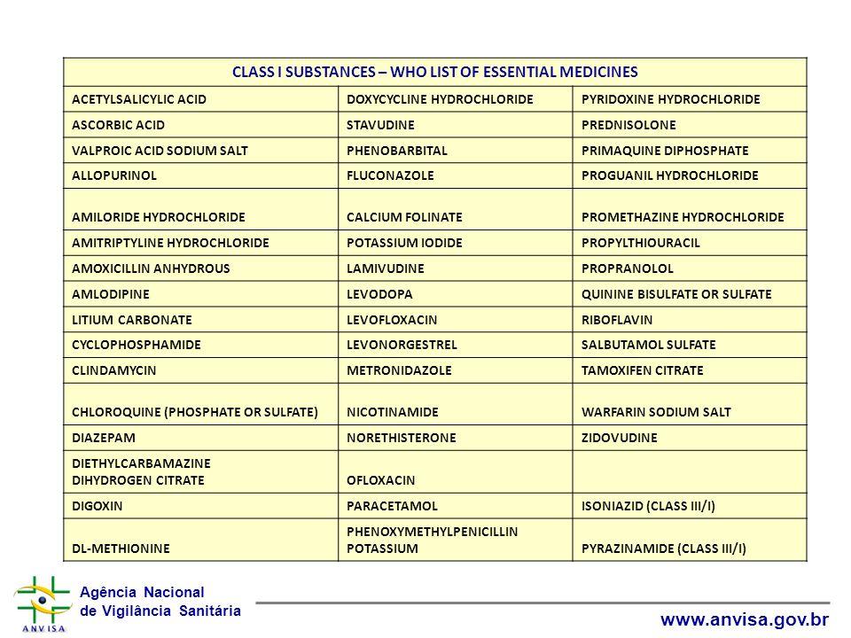 Agência Nacional de Vigilância Sanitária www.anvisa.gov.br CLASS I SUBSTANCES – WHO LIST OF ESSENTIAL MEDICINES ACETYLSALICYLIC ACIDDOXYCYCLINE HYDROC