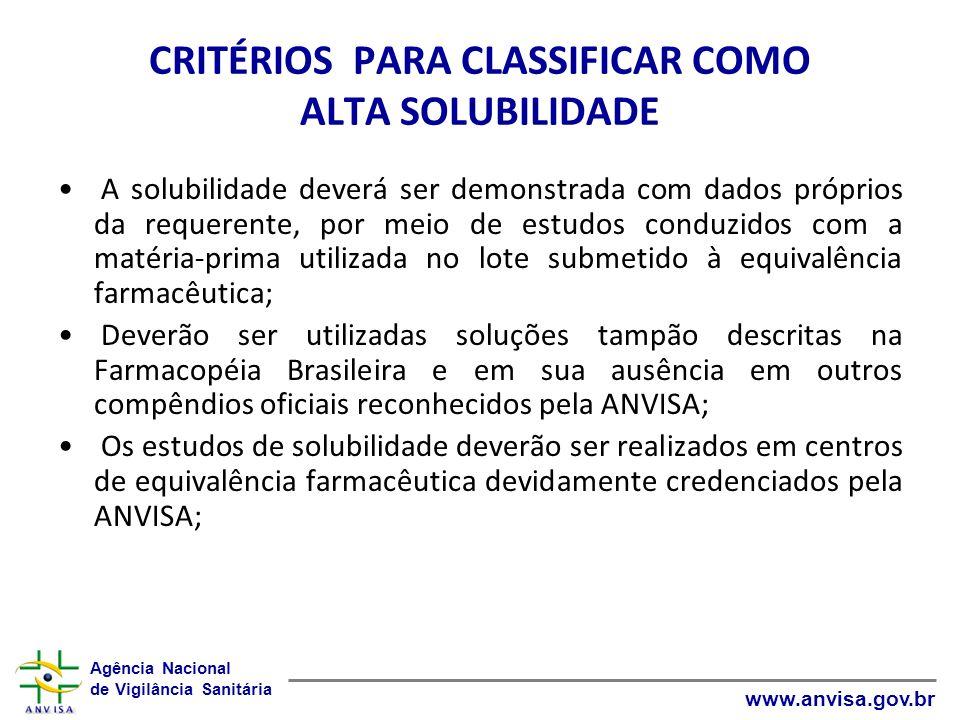 Agência Nacional de Vigilância Sanitária www.anvisa.gov.br CRITÉRIOS PARA CLASSIFICAR COMO ALTA SOLUBILIDADE A solubilidade deverá ser demonstrada com