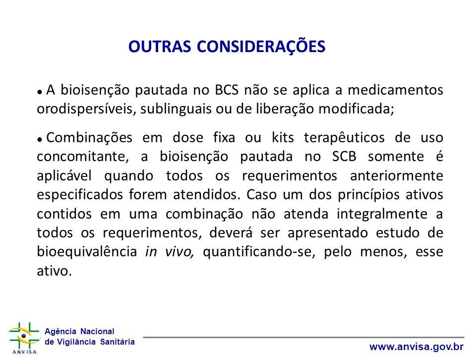 Agência Nacional de Vigilância Sanitária www.anvisa.gov.br A bioisenção pautada no BCS não se aplica a medicamentos orodispersíveis, sublinguais ou de