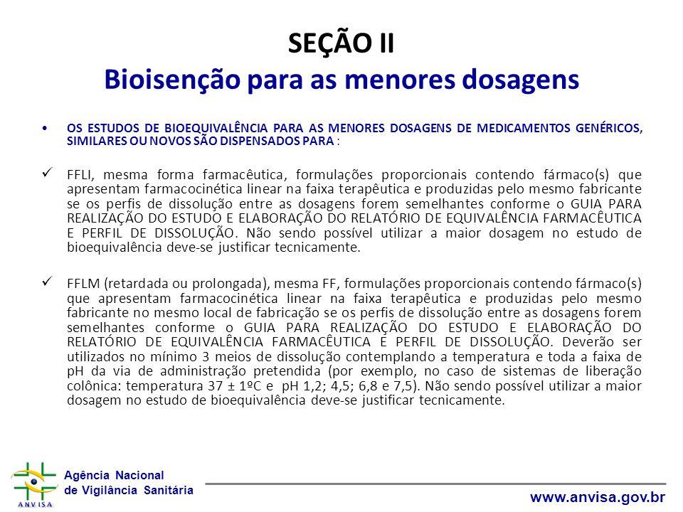 Agência Nacional de Vigilância Sanitária www.anvisa.gov.br SEÇÃO II Bioisenção para as menores dosagens OS ESTUDOS DE BIOEQUIVALÊNCIA PARA AS MENORES