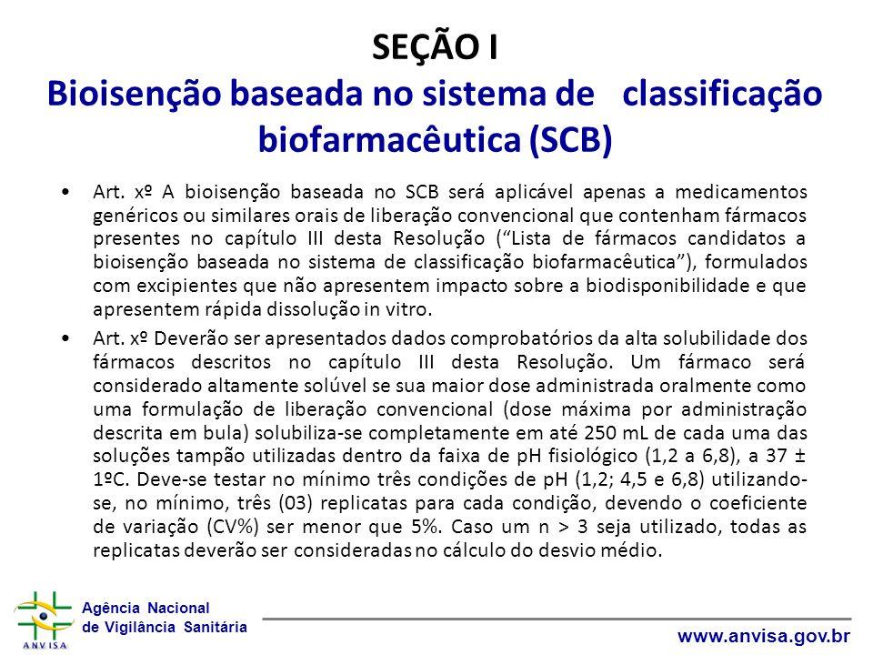 Agência Nacional de Vigilância Sanitária www.anvisa.gov.br SEÇÃO I Bioisenção baseada no sistema de classificação biofarmacêutica (SCB) Art. xº A bioi