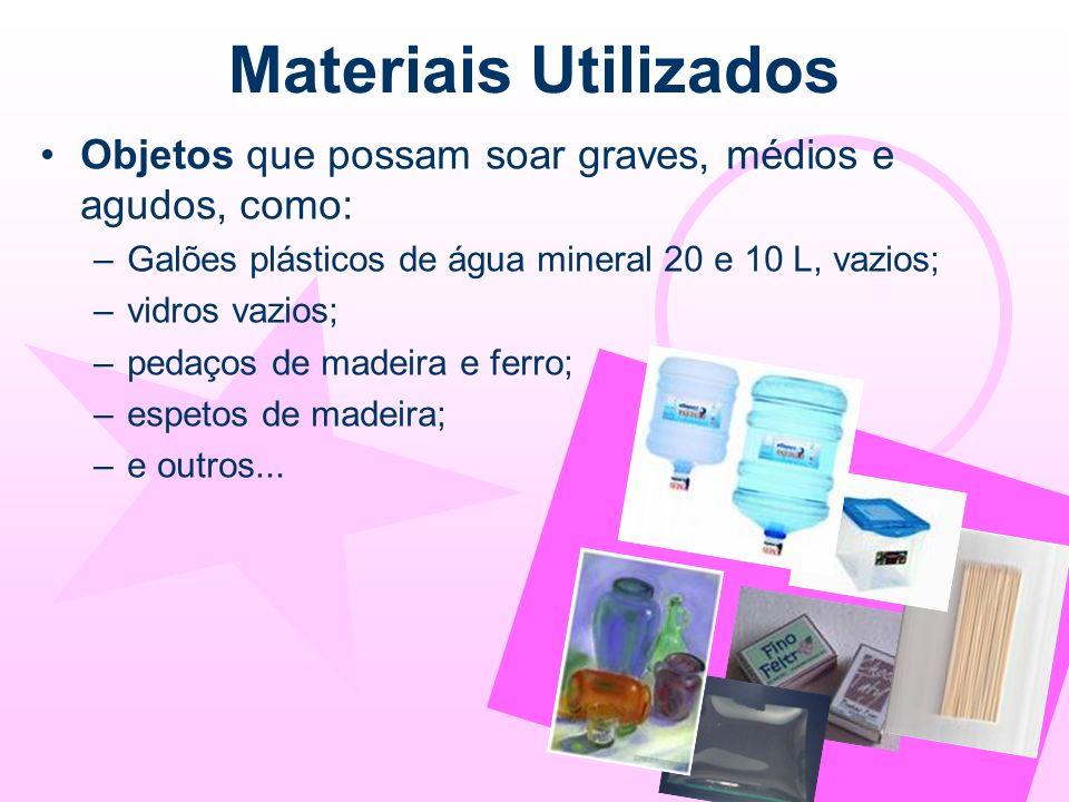 Materiais Utilizados Objetos que possam soar graves, médios e agudos, como: –Galões plásticos de água mineral 20 e 10 L, vazios; –vidros vazios; –peda