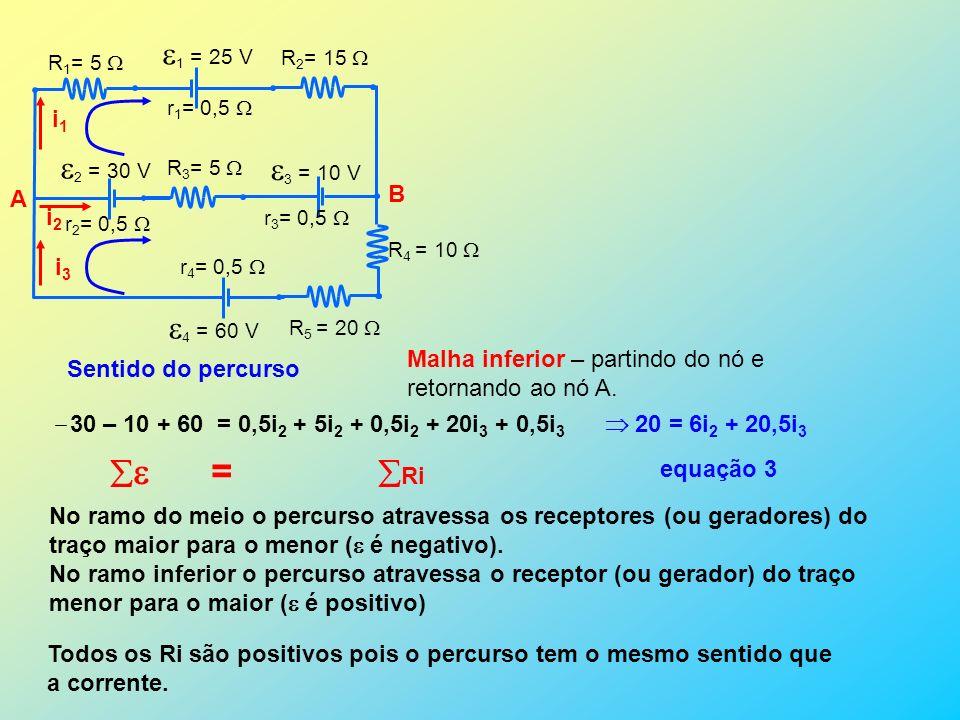 1 = 25 V 2 = 30 V 3 = 10 V 4 = 60 V r 1 = 0,5 r 2 = 0,5 r 3 = 0,5 r 4 = 0,5 R 1 = 5 R 2 = 15 R 3 = 5 R 4 = 10 R 5 = 20 A B i1i1 i2 i2 i3i3 Sentido do